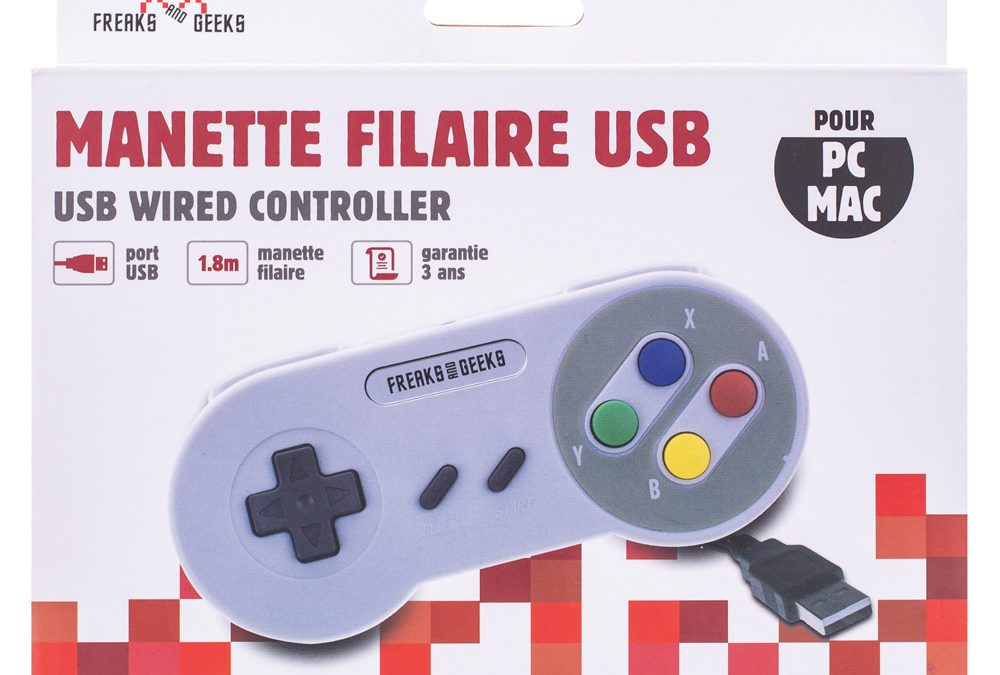 Manette forme SNES USB pour PC/MAC (couleurs Europe)