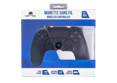 Manette Sans Fil Bluetooth Noire pour PS4 Avec Prise Jack pour casque et boutons lumineux